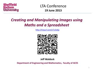 Creating and Manipulating Images using Maths and a Spreadsheet