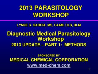 2013 PARASITOLOGY WORKSHOP