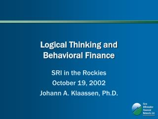 Logical Thinking and Behavioral Finance