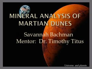 Mineral Analysis of Martian Dunes