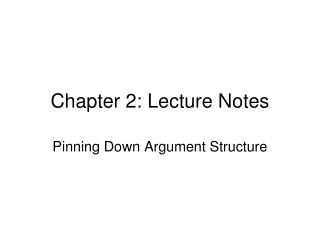 Chapter 2: Lecture Notes