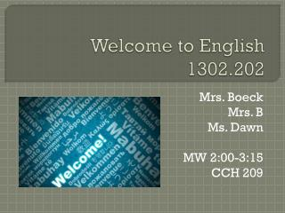Welcome to English 1302.202