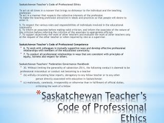 Saskatchewan Teacher's Code of Professional Ethics