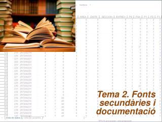 Tema 2. Fonts  secundàries i documentació
