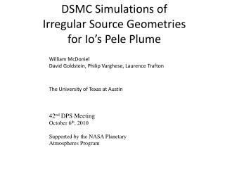 DSMC Simulations of  Irregular Source Geometries  for Io's Pele Plume