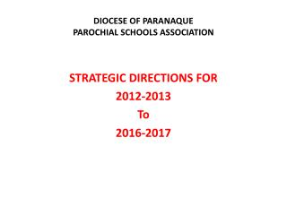 DIOCESE OF PARANAQUE PAROCHIAL SCHOOLS ASSOCIATION