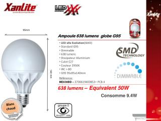 LED xXx Evolution (SMD)  Standard G95  Dimmable  638 lumens Dissipateur Aluminium  Culot E27
