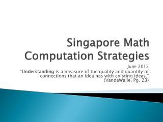 Singapore Math Computation Strategies