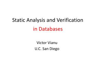 Static Analysis and Verification