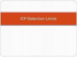 ICP Detection Limits