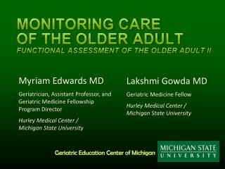 Monitoring Care  of the Older  Adult Functional Assessment of the Older Adult II