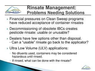 Rinsate Management:  Problems Needing Solutions