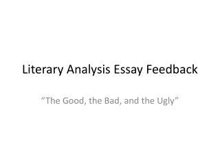 Literary Analysis Essay  Feedback