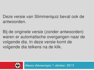 Mensa  slimmeriquiz  1 oktober 2013