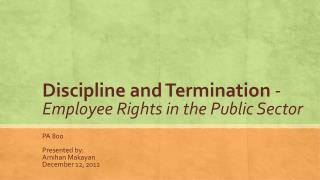 Discipline and Termination  - Employee Rights in the Public Sector