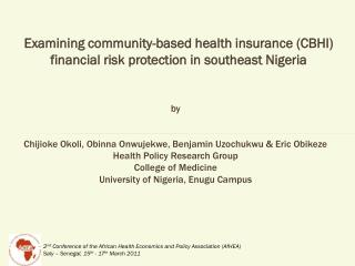 Examining community-based health insurance (CBHI) financial risk protection in southeast Nigeria