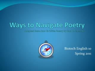 Ways to Navigate Poetry  Adapted from  How To Write Poetry  by Paul B.  Janeczko