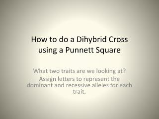 How to do a  Dihybrid  Cross using a  Punnett  Square