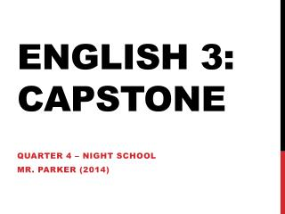 English 3: Capstone