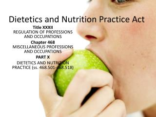 Dietetics and Nutrition Practice Act