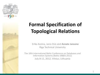 Formal Specification of  Topological Relations