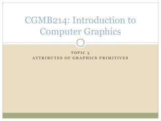 CGMB214: Introduction to Computer Graphics