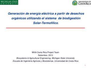 WHA Costa Rica Project Team Setiembre , 2013