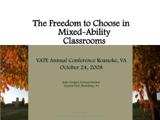 The Freedom to Choose in Mixed-Ability Classrooms VATE  Annual Conference Roanoke, VA