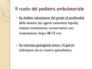 Il ruolo del pediatra ambulatoriale