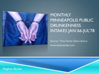 Monthly Minneapolis public drunkenness intakes Jan.'66-Jul'78