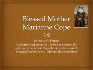 Blessed Mother Marianne Cope
