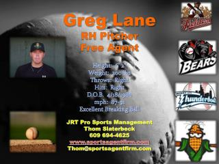 Greg Lane RH Pitcher Free Agent