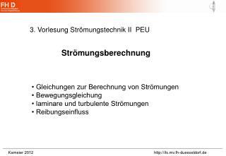 3. Vorlesung Strömungstechnik II  PEU
