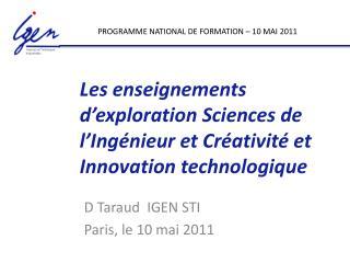 Les enseignements d'exploration Sciences de l'Ingénieur et Créativité et Innovation technologique