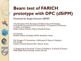 Beam test of FARICH prototype with DPC ( dSiPM )