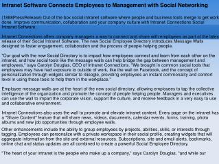Intranet Software Connects Employees to Management with Soci