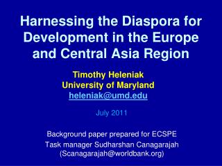 Harnessing the Diaspora for Development in the Europe and Central Asia Region