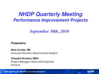 NHDP Quarterly Meeting Performance Improvement Projects