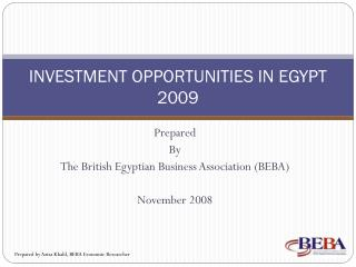 INVESTMENT OPPORTUNITIES IN EGYPT 2009