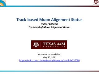 Track-based  Muon Alignment Status Yuriy Pakhotin On behalf of Muon Alignment Group
