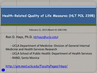 Health-Related Quality of Life Measures (HLT POL 239B)