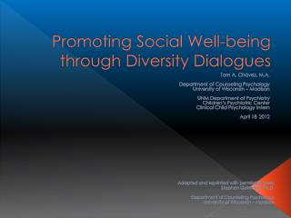 Promoting Social Well-being through Diversity Dialogues