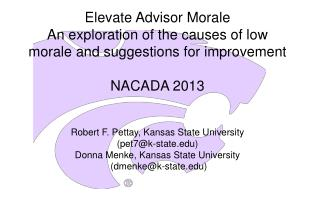 Elevate Advisor Morale An exploration of the causes of low morale and suggestions for  improvement