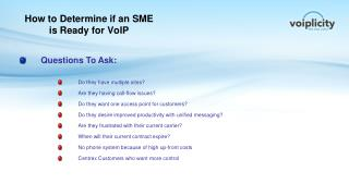 How to Determine if  an  SME is Ready for VoIP