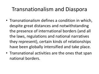 Transnationalism and Diaspora
