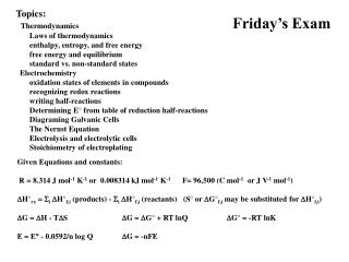 Friday's Exam