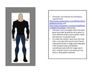 Character uses textures for shirt/jeans, sourced from
