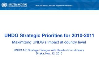 UNDG Strategic Priorities for 2010-2011