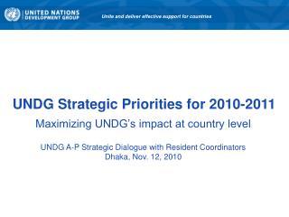 UNDG Strategic Priorities for 2010-2011