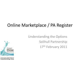 Online Marketplace / PA Register